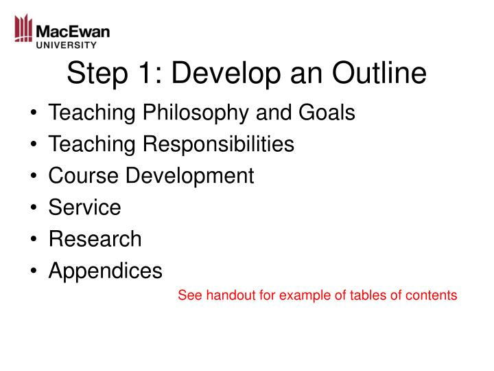 Step 1: Develop an Outline