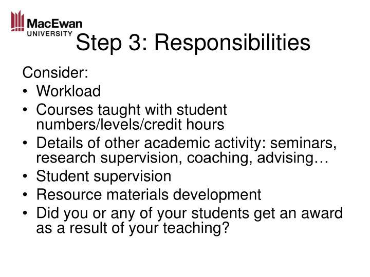Step 3: Responsibilities