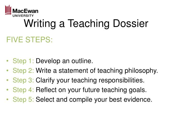 Writing a Teaching Dossier