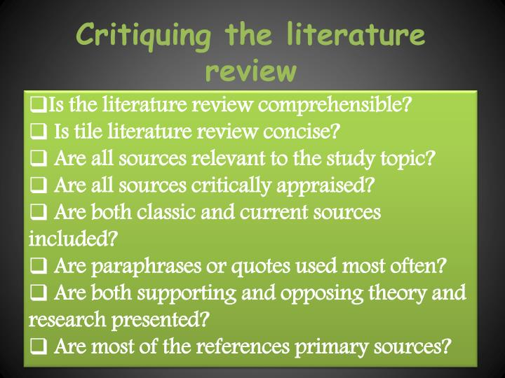 Critiquing the literature review