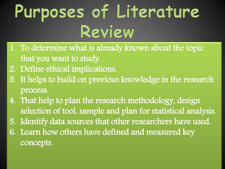 Purposes of Literature Review