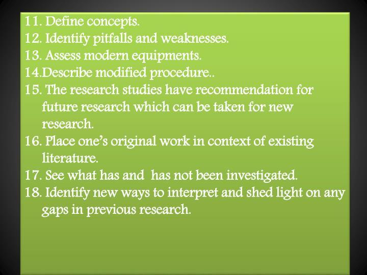 11. Define concepts.