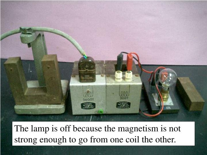 The lamp is off because the magnetism is not strong enough to go from one coil the other.