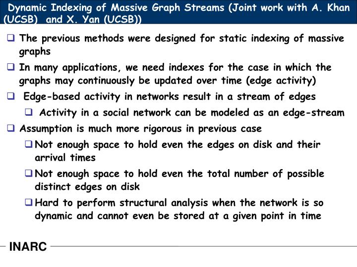 Dynamic Indexing of Massive Graph Streams (Joint work with A. Khan (UCSB)  and X. Yan (UCSB))