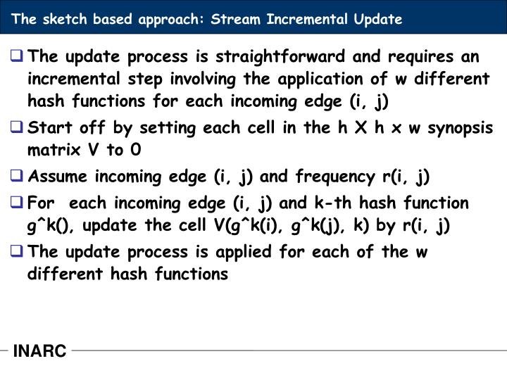 The sketch based approach: Stream Incremental Update