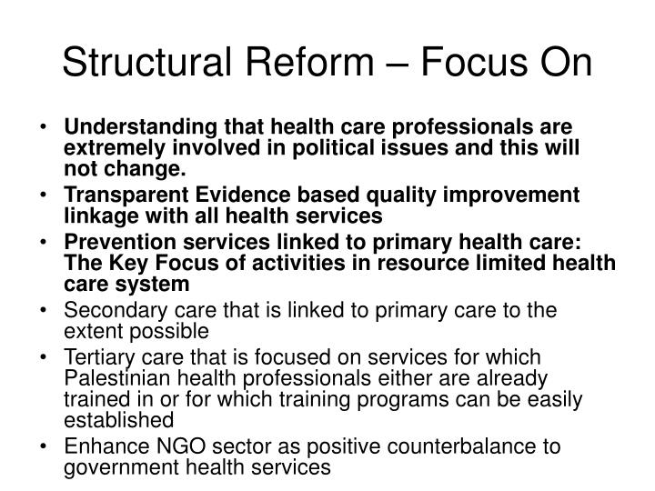 Structural Reform – Focus On