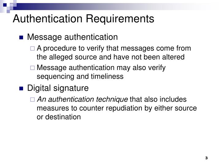 Authentication requirements1
