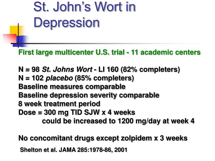 St. John's Wort in Depression