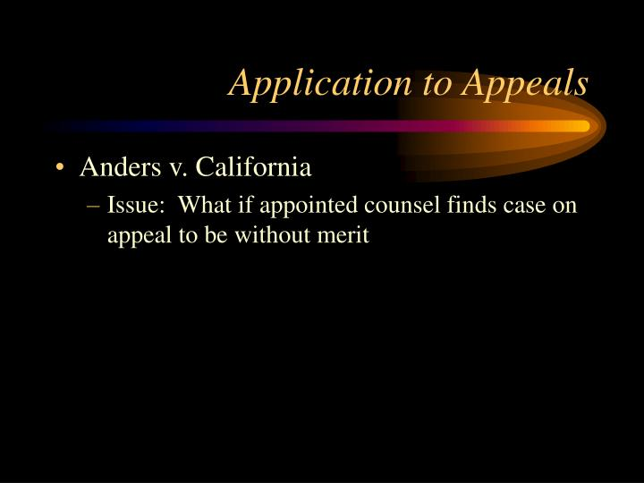 Application to Appeals