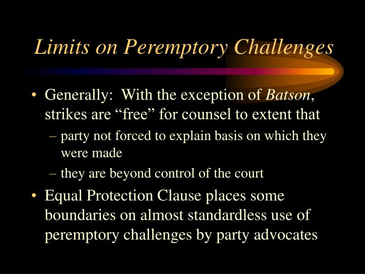 Limits on Peremptory Challenges