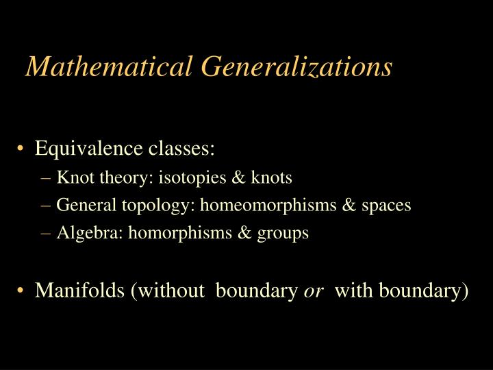 Mathematical Generalizations