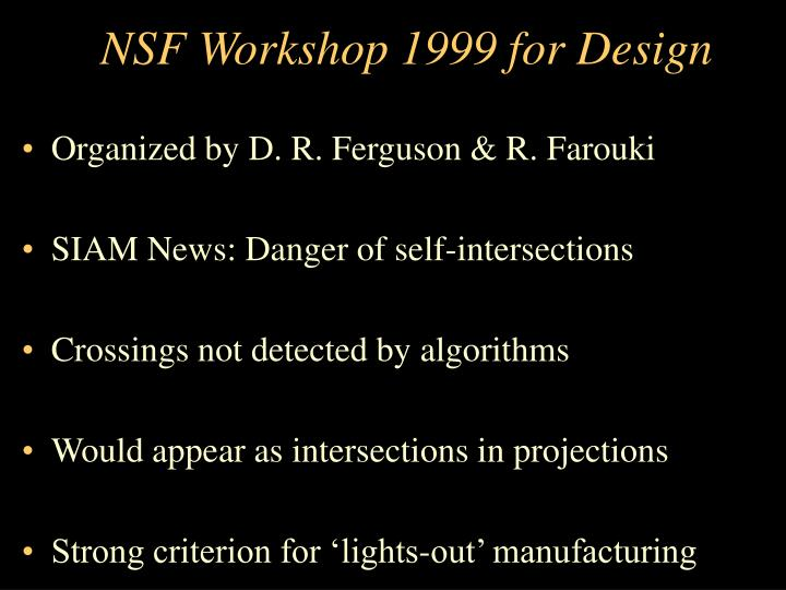 NSF Workshop 1999 for Design