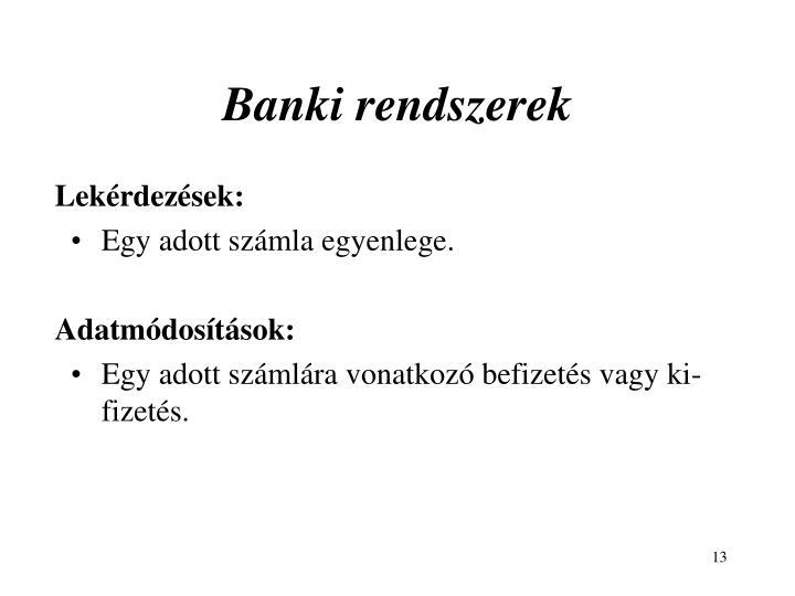 Banki rendszerek