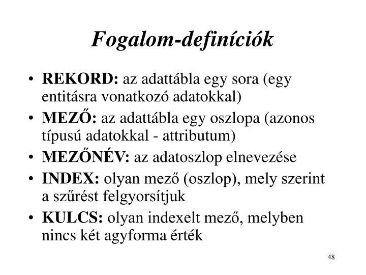 Fogalom-definíciók