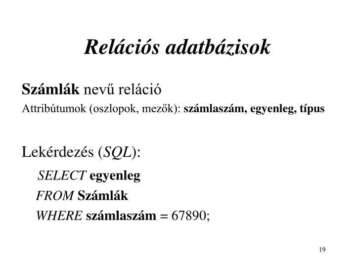 Relációs adatbázisok