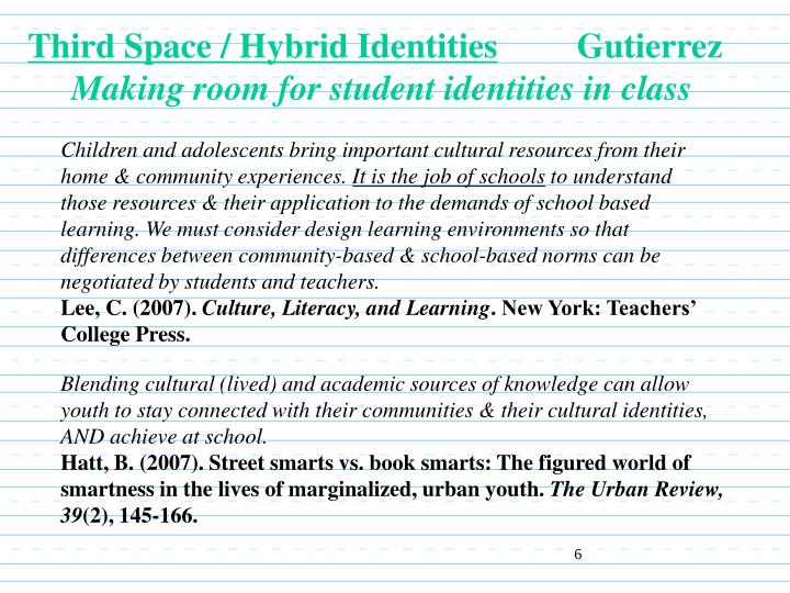 Third Space / Hybrid Identities