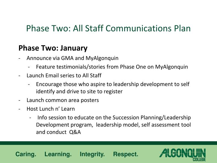 Phase Two: All Staff Communications Plan