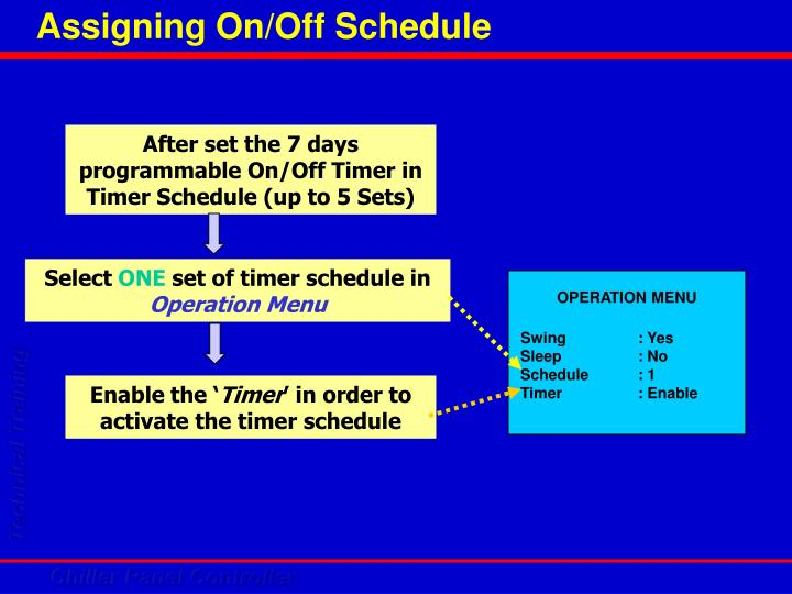 Assigning On/Off Schedule