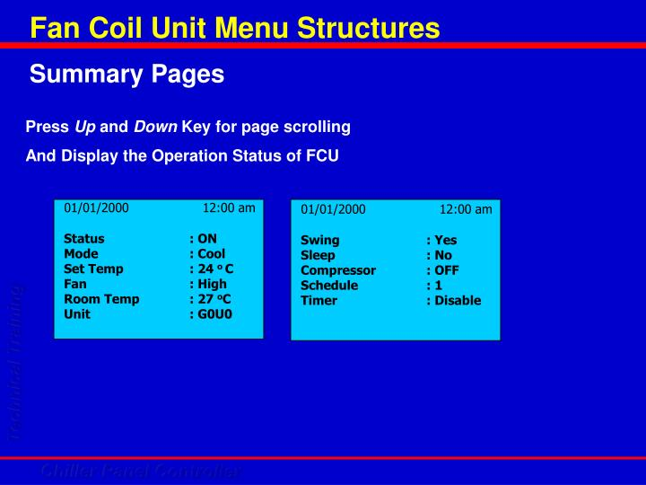 Fan Coil Unit Menu Structures