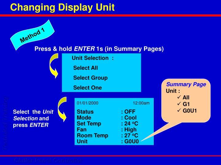 Changing Display Unit