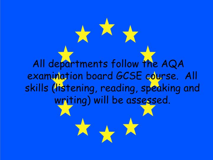 All departments follow the AQA examination board GCSE course.  All skills (listening, reading, speak...