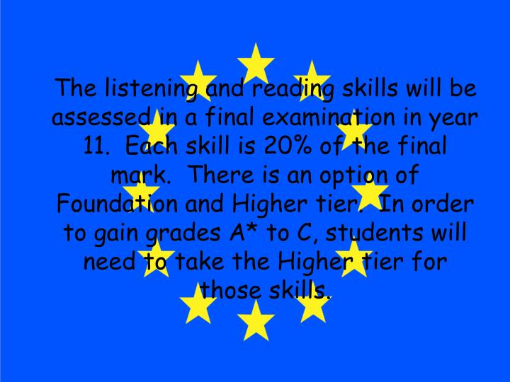 The listening and reading skills will be assessed in a final examination in year 11.  Each skill is 20% of the final mark.  There is an option of Foundation and Higher tier.  In order to gain grades A* to C, students will need to take the Higher tier for those skills.