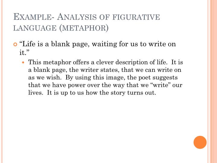 Example- Analysis of figurative language (metaphor)