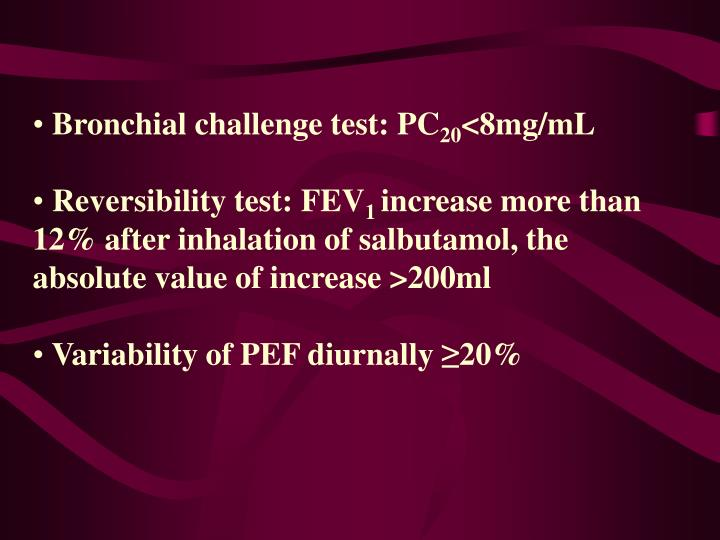 Bronchial challenge test: PC