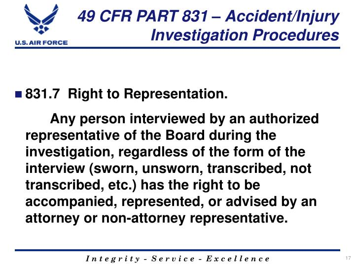 49 CFR PART 831 – Accident/Injury Investigation Procedures