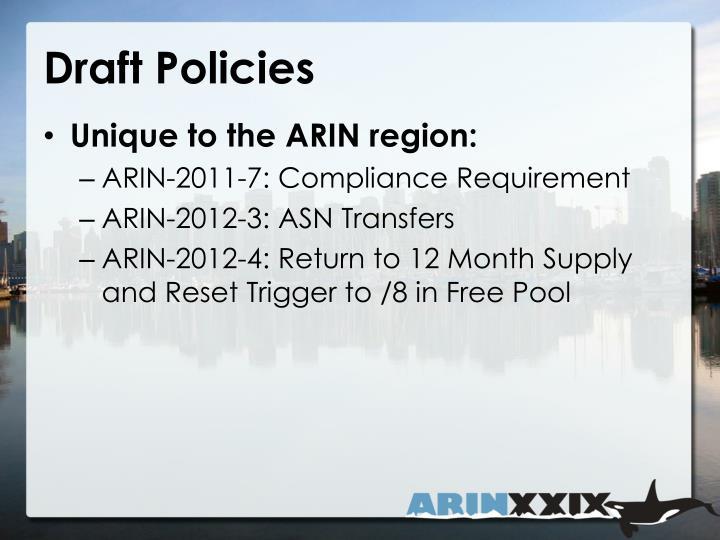 Draft Policies