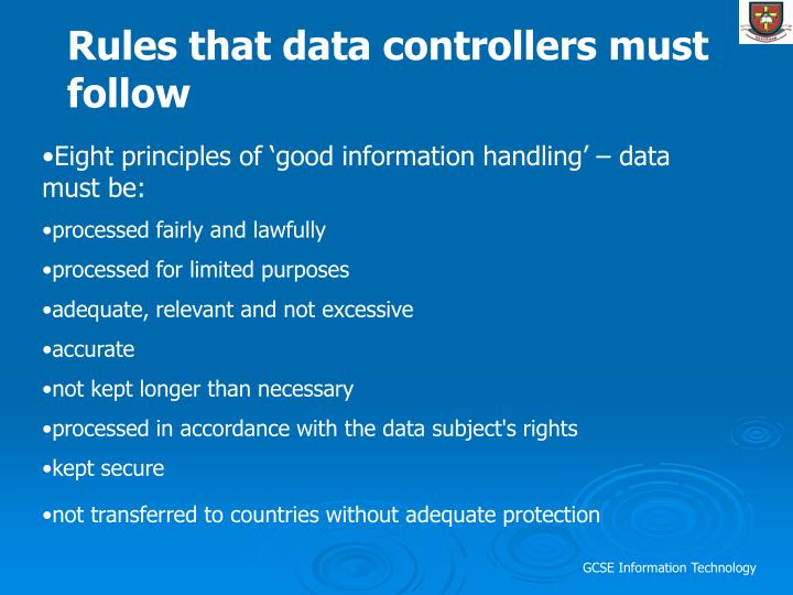 Rules that data controllers must follow
