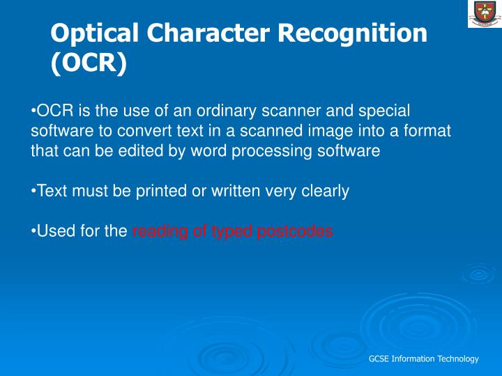 Optical Character Recognition (OCR)