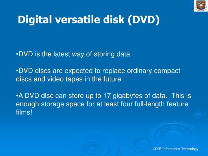 Digital versatile disk (DVD)
