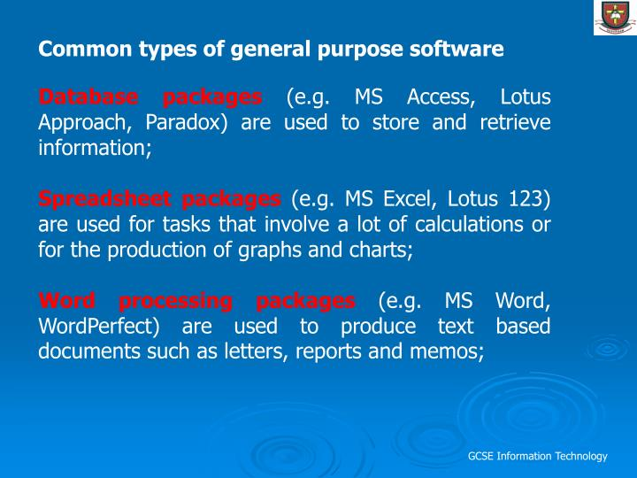 Common types of general purpose software