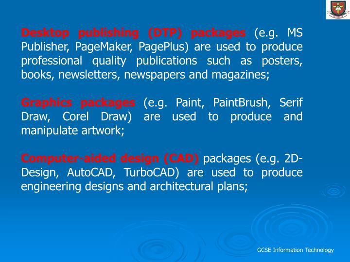 Desktop publishing (DTP) packages
