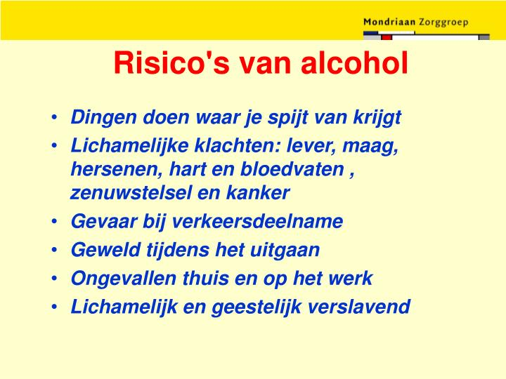Risico's van alcohol