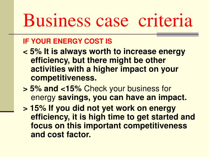 Business case  criteria