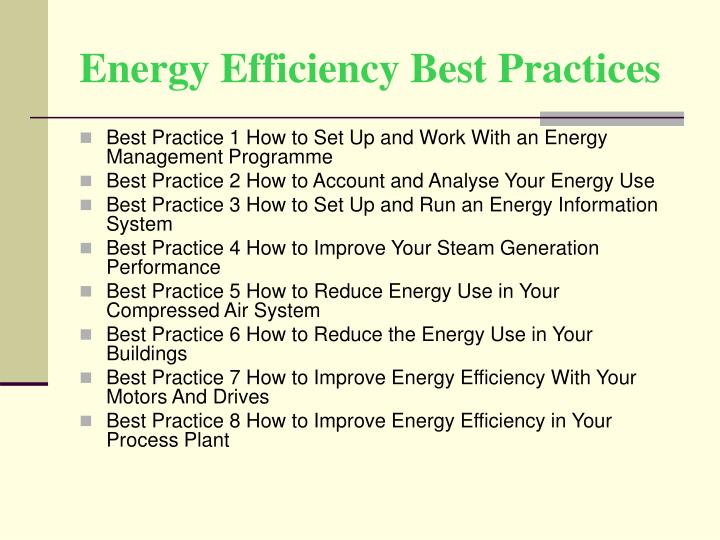 Energy Efficiency Best Practices