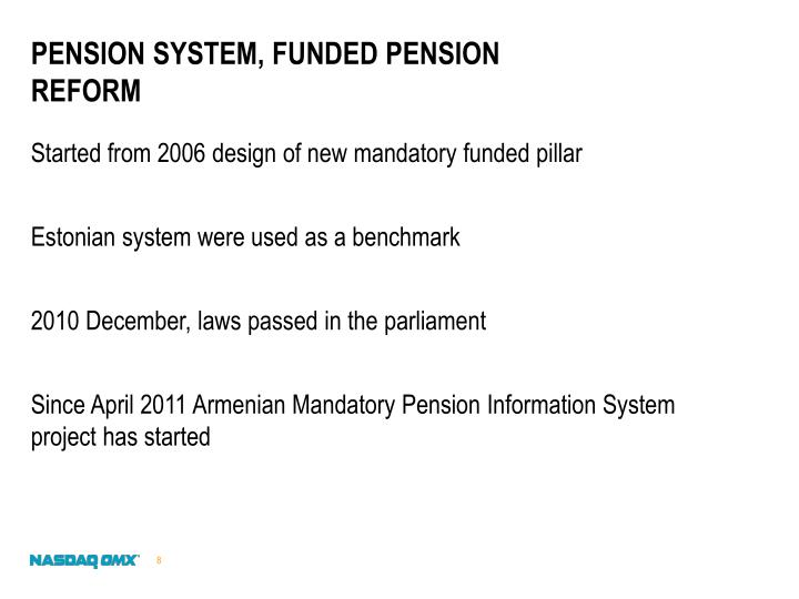 Pension system, funded pension reform