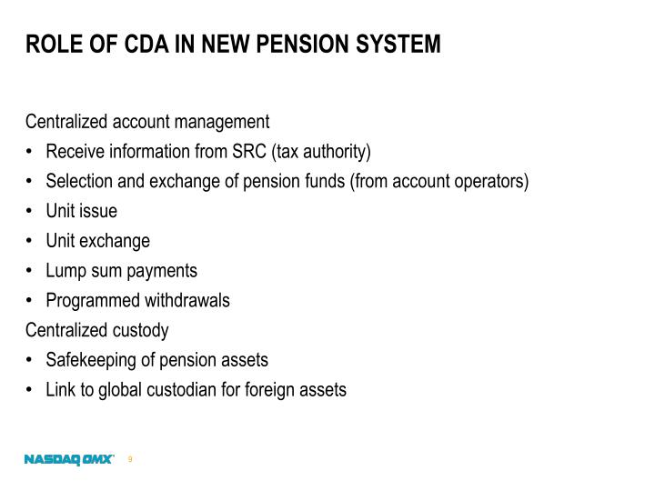 Role of CDA in new pension system