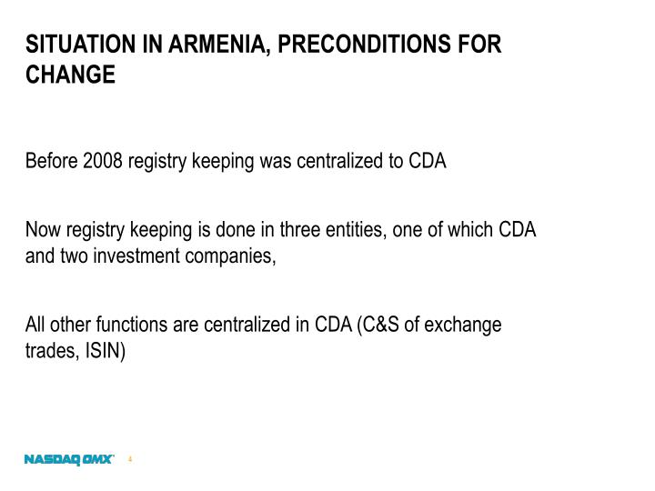 Situation in Armenia, preconditions for change