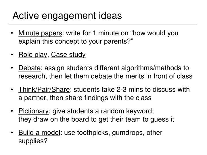 Active engagement ideas