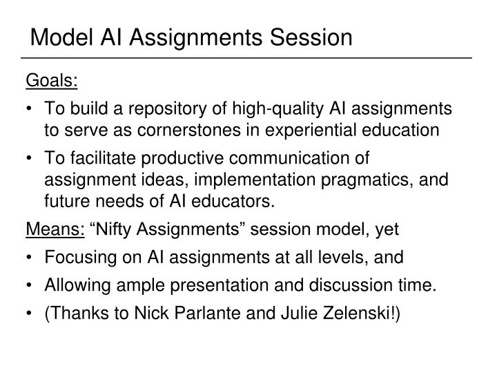 Model AI Assignments Session