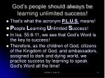 god s people should always be learning unlimited success