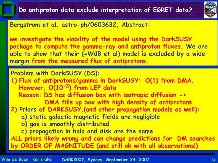 Do antiproton data exclude interpretation of EGRET data?
