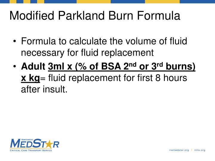 Modified Parkland Burn Formula