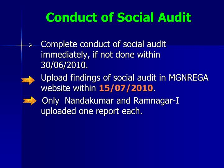 Conduct of Social Audit