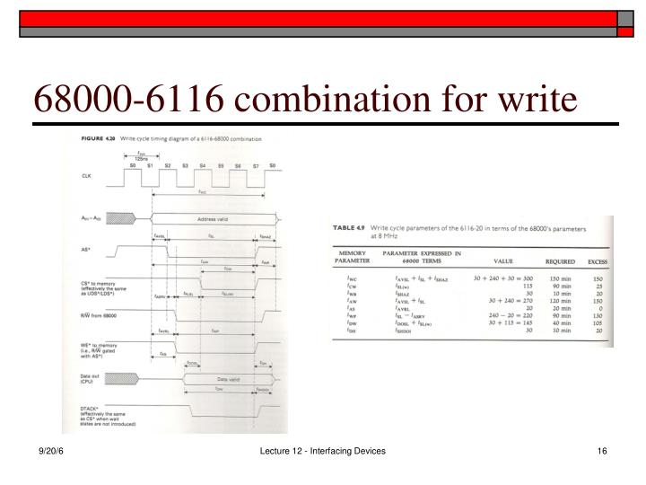 68000-6116 combination for write