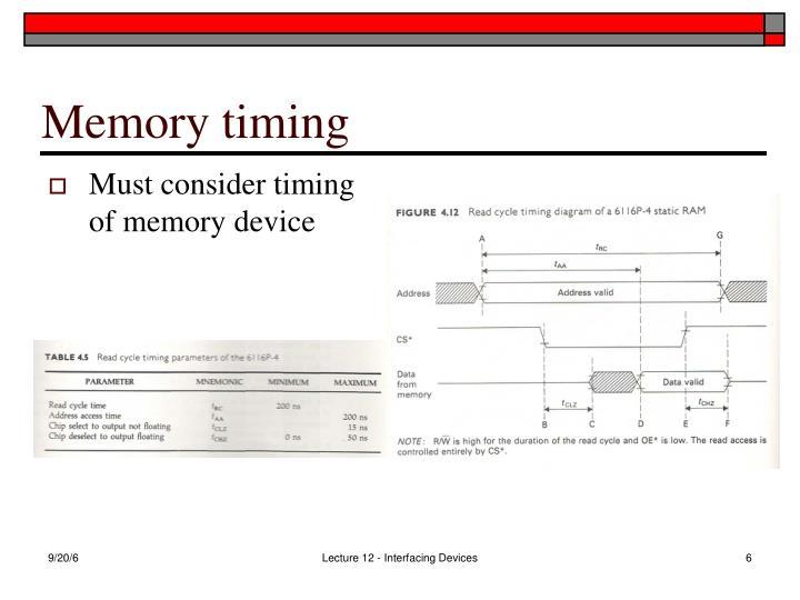Memory timing