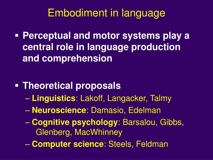 Embodiment in language